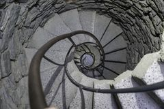 Treppe in einem Schloss-Drehkopf lizenzfreie stockbilder