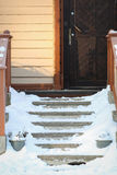 Treppe im Winter stockfotos