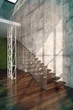 Treppe im Wohnzimmerinnenraum Stockbild