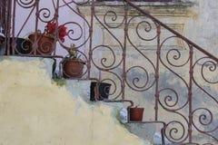 Treppe mit Blumen Stockfotos