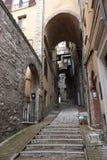 Treppe in Perugia-Straße, Italien Lizenzfreies Stockbild