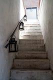 Treppe und Lampen Stockfotografie