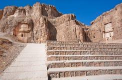 Treppe zu den historischen Monumenten von Naqsh-e Rustam, der Iran Lizenzfreie Stockfotografie