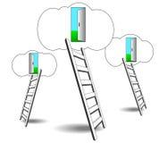Treppe zu den Wolken, zu den offenen Türen im Frühjahr, das Konzept des Geschäftswachstums lizenzfreie abbildung
