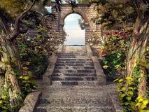 Treppe zu Gartentor Stockfoto