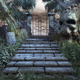 Treppe zum gefährlichen Garten Stockbilder