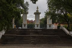 Treppe zum historischen Museum von Chabarowsk lizenzfreie stockfotografie