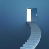 Treppen, die zu Tür führen Stockfoto