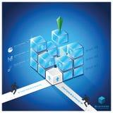 Treppen-Würfel-Geschäft Infographic-Design-Schablone Stockbild