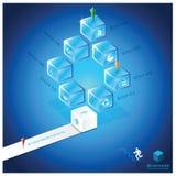 Treppen-Würfel-Geschäft Infographic-Design-Schablone Stockfotografie