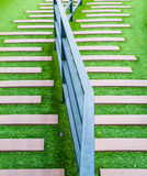 Treppenhaus bedeckt mit grünem Gras Stockfotos
