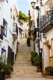 Treppenhaus, das zu Santa Barbara-Berg in Alicante alte historische distric Santa Cruz führt Stockfoto