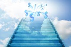 Treppenhaus, das zum Geld steigt Stockbild