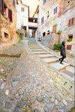 Treppenhaus im mittelalterlichen Herzen von Anghiari, Arezzo, Toskana Stockbilder