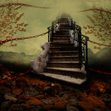 Treppenhaus mit Ketten Stockfoto