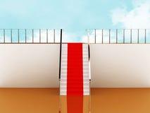 Treppenhaus mit rotem Teppich zum Himmel Lizenzfreies Stockfoto