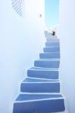 Treppenhaus am santorini, Griechenland stockbilder