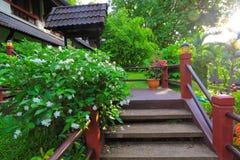 Treppenhaus und Blumengarten Stockfotos