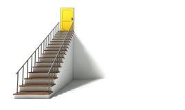 Treppenhaus, zum der Tür gelb zu färben Lizenzfreies Stockfoto