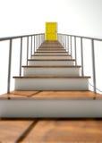 Treppenhaus, zum der Tür gelb zu färben Stockbilder