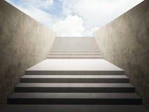 Treppenhaus zum Erfolg mit Himmelhintergrund, erfolgreiches Geschäftskonzept lizenzfreies stockfoto