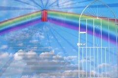 Treppenhaus zum Himmel, zum der Leuchte zu sehen Stockfotografie