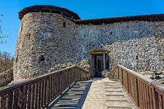 Treppenhaus zum mittelalterlichen Schloss Stockfotos
