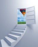 Treppenhaus zur Freiheit und zum Ballon Stockbild