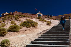 Treppenhaus zur Kirche Machuca-Dorf San Pedro de Atacama Antofagasta-Region chile Lizenzfreie Stockbilder