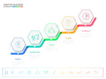 Treppenschritt zum Erfolgskonzept Moderne bunte Geschäftszeitachsehexagon infographics Schablone mit Ikonen und Elementen stock abbildung