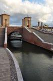 科马基奥, trepponti桥梁 费拉拉意大利 图库摄影
