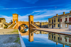 Trepponti bridge in Comacchio, the little Venice Royalty Free Stock Photo