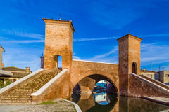 Trepponti bridge in Comacchio, the little Venice. Trepponti bridge in Comacchio in Emilia Romagna, known as The Little Venice because of being an enchanting Royalty Free Stock Image