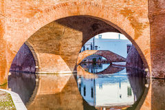 Trepponti bridge in Comacchio, the little Venice. Trepponti bridge in Comacchio in Emilia Romagna, known as The Little Venice because of being an enchanting Stock Image