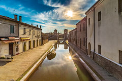 Trepponti bridge in Comacchio, the little Venice. Trepponti bridge in Comacchio in Emilia Romagna, known as The Little Venice because of being an enchanting Stock Photography