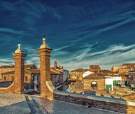 Trepponti bridge in Comacchio, the little Venice. Trepponti bridge in Comacchio in Emilia Romagna, known as The Little Venice because of being an enchanting Stock Photos