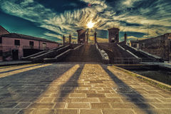 Trepponti bridge in Comacchio, the little Venice. Trepponti bridge in Comacchio in Emilia Romagna, known as The Little Venice because of being an enchanting Royalty Free Stock Photos