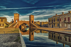 Trepponti bridge in Comacchio, the little Venice. Trepponti bridge in Comacchio in Emilia Romagna, known as The Little Venice because of being an enchanting Stock Images