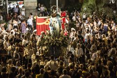 Trepuzzi, Italy, August 14 2018, Patronal feast in honor of Our Lady of the Assumption, typical of small cities in Southern Italy stock images