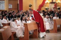 Trepuzzi, Italy 20-05-2018 Katolicki Pierwszy komunia świętowanie Obraz Stock