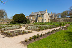 Trerice议院Newquay康沃尔郡英国英国美丽的伊丽莎白女王的庄园住宅和庭院在晴朗的春天风化 库存图片