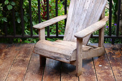 Trerrace wooden chair. Detail of Trerrace wooden chair Royalty Free Stock Photos