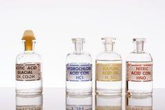 Tres ácidos minerales comunes foto de archivo