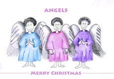 Tres ángeles ilustración del vector