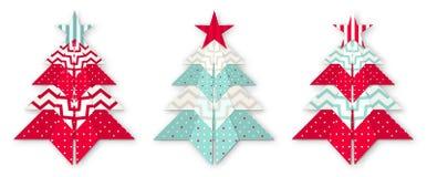 Tres árboles abstractos de la papiroflexia de la Navidad stock de ilustración