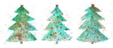Tres árboles de navidad decorativos conjunto de la acuarela imagen de archivo