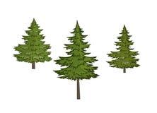 Tres árboles de navidad en un fondo blanco libre illustration