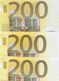 Tres 200 billetes de banco euro Foto de archivo libre de regalías