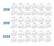 Tres años de calendario, 2018, 2019, 2020, aislado, plano ilustración del vector
