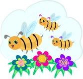 Tres abejas y tres flores espirales ilustración del vector